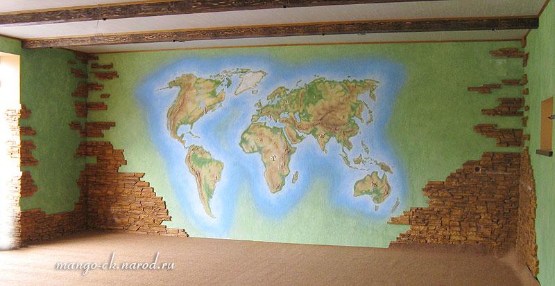 Карта мира своими руками на стену